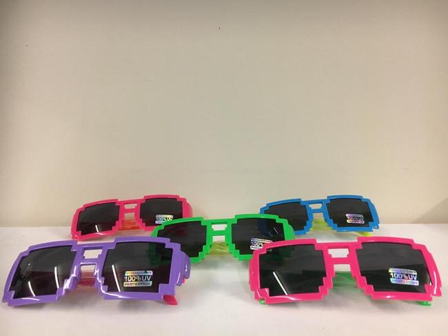 Pixel shape sunglasses assorted colors