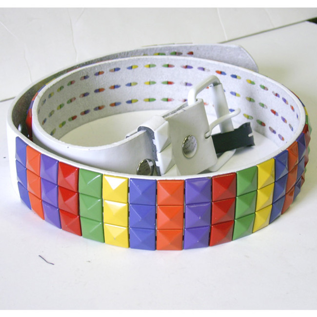 Rainbow multi color 90's style studded belt