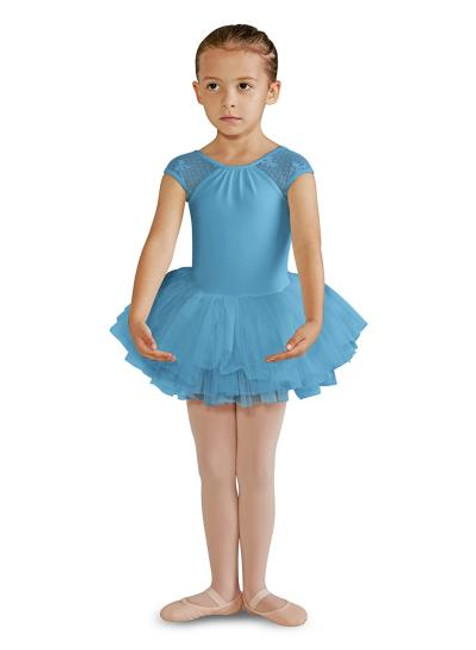 Bow Mesh cap sleeve tutu leotard comes in turquoise and white by Bloch
