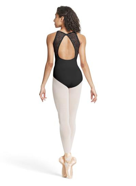 Dancers will love showing off their backs in this gorgeous camisole leotard. A classic scoop front silhouette is contrasted by a stunning open back showcased by an ornate ivy mesh. Hip seams for a flattering fit.  Features  Scoop front and high bow back Open back Ornate ivy mesh back Wide camisole straps for added support Hip seams Ballet leg line Shelf lining Notes  Machine wash cold, lay flat to dry