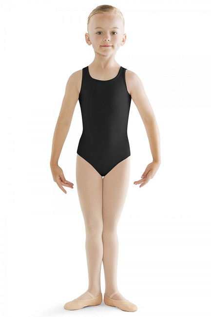 This precious tank leotard with embroidered back detail will be your tiny dancers favorite! The simplistic scoop front is contrasted by a high back line that is pinched together forming a small bow design and a teardrop keyhole. Pair with a wrap skirt for a classic ballet look.  Features  Scoop front and high back Embroidered anglaise keyhole back Tank style Keyhole back Ballet leg line Full front lining Notes  Machine wash cold, lay flat to dry