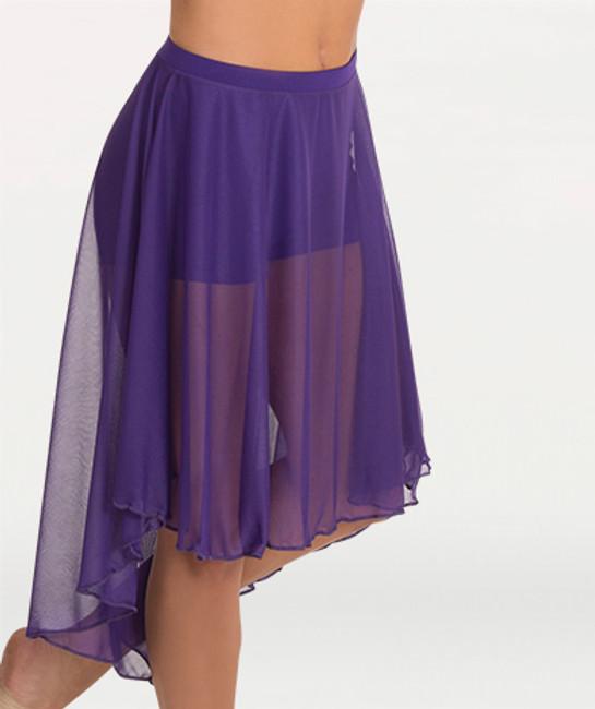 Polyester Silken Chiffon  Knee length chiffon skirt features a solid matching covered elastic waistband.