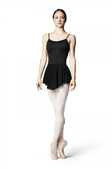 This pull on ballet skirt will dress up any leotard. A solid soft and stretchy waistband sits comfortably at the waist. A beautiful diamond flocked mesh falls from the waistband softly to the upper thigh.  Features  Pull on styling Soft and stretchy waistband Diamond flocked mesh Leotard sold separately Notes  Machine wash cold, lay flat to dry.