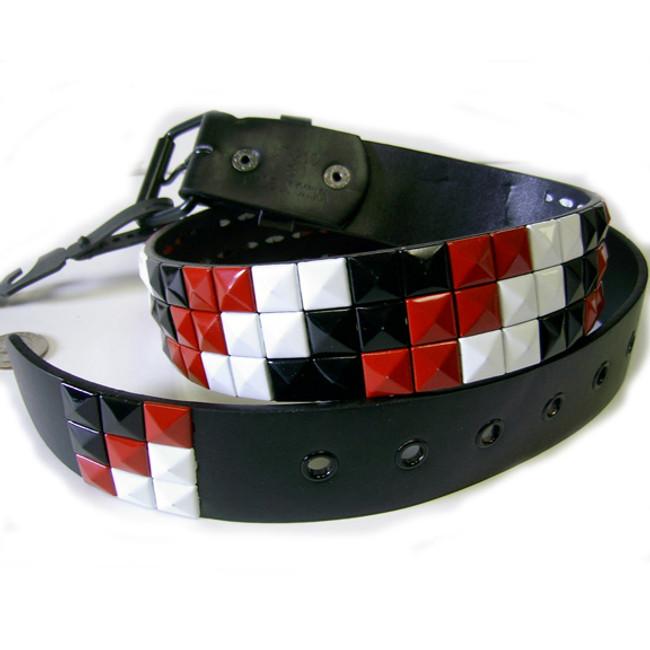 White black & red studded steps belt