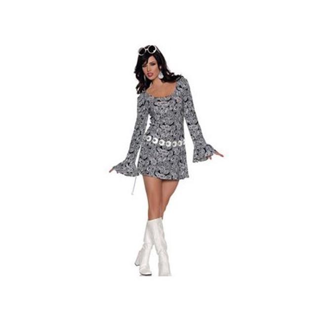 70's Fab ladies Black and white swirl mini dress and belt