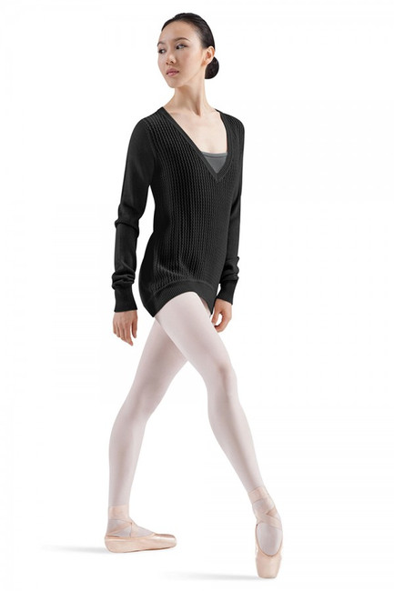 Long sleeve knit jumper features front braiding detail and low V-front neckline. Ribbed cuffs feature optional thumbholes. The perfect addition to your dance wardrobe!  Fabric  55% Cotton, 45% Viscose Knit   Hand wash cold, lay flat to dry