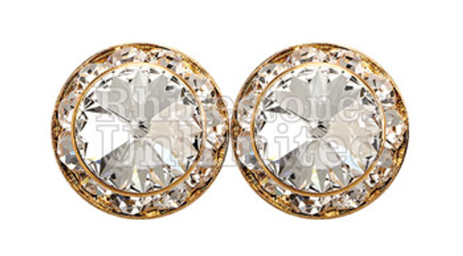 Performance earring 20mm pierced crystal gold