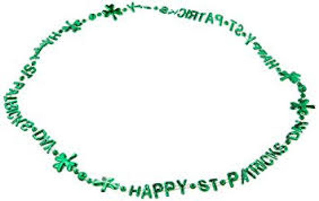 "St. Patricks Day Beads 33 inch pack (3) ""Happy St. Patricks Day"""