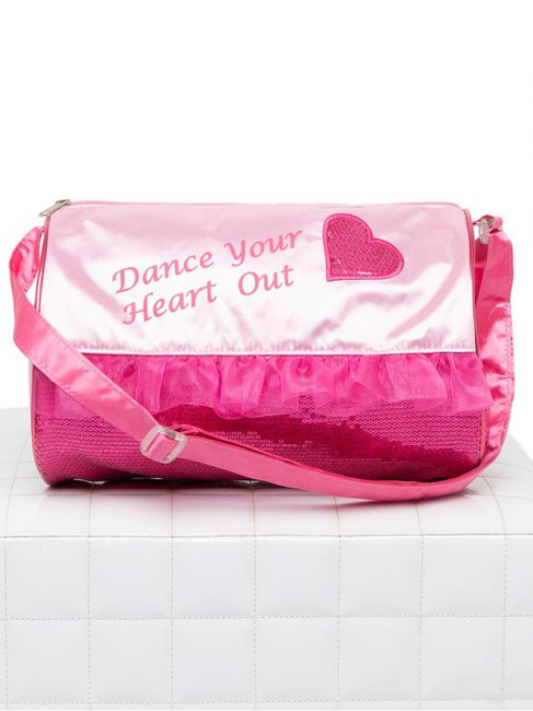 "Child's barrel bag with outer pink sequin detailing and satin trim. Easy to close zipper with adjustable shoulder strap. Additional inner zip pocket to store dance necessities and outer mesh pocket perfect for water bottle storage.  Product Features: One Size: 11"" X 7"" Material: 100% Polyester Satin (exclusive of trim)"