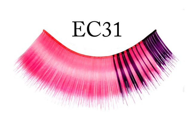 Eyelashes Pink with Purple mix on right side