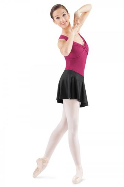 Cute and flirty short pull on circle skirt with side split and elasticated waistband. The elasticated waistband sits flat on the tummy and is an easy to wear garment over a pair of tights and a leotard. Great style for contemporary or dancesport practice. Side split gives the skirt flare and movement with you twirl and spin.  Features  Pull on styling Flat waistband Side Slit Fabric  Polyester, Spandex Notes  Machine wash cold, lay flat to dry