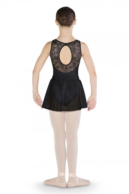 An easy and beautiful choice to pull on over your leotard for class. A soft and stretchy waistband features a diamante detail and sits comfortably on the waist. Attached is shimmering flower mesh that falls to the upper thigh.  Features  Soft stretchy waistband with diamantes Pull on styling Flower mesh Leotard sold separately Notes  Machine wash cold, lay flat to dry.