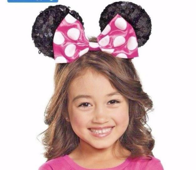 Pink Minnie Mouse childs Sequin ears licensed