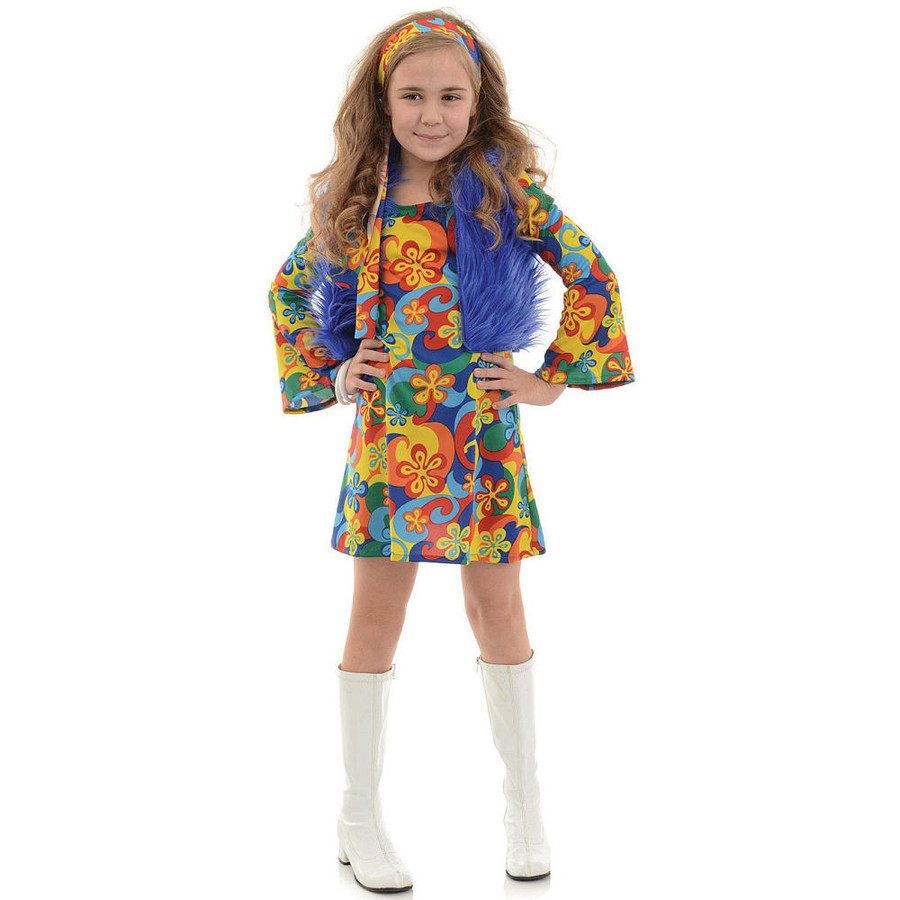 60's Girl's Far Out - Mini Dress, Vest, Headband