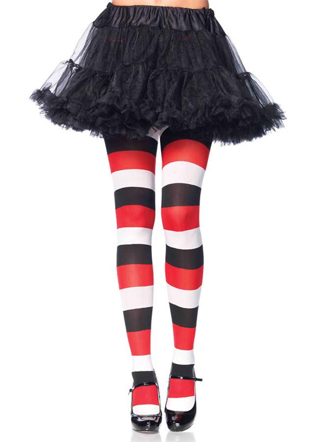 f9c2b0f3f7c1 Darling Doll Opqaue Striped Red White & Black Tights - Imaginations ...