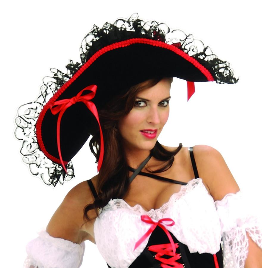 Queen of the Sea Hat Ladies Pirate Hat Black with Red/Gld Accents