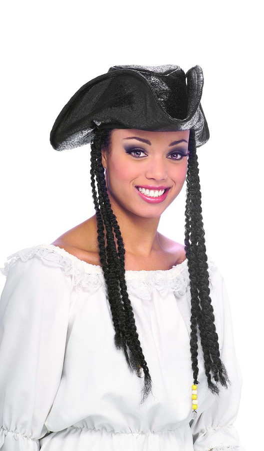 Pirate Hat with Braids and Beads Distressed Brown Unisex