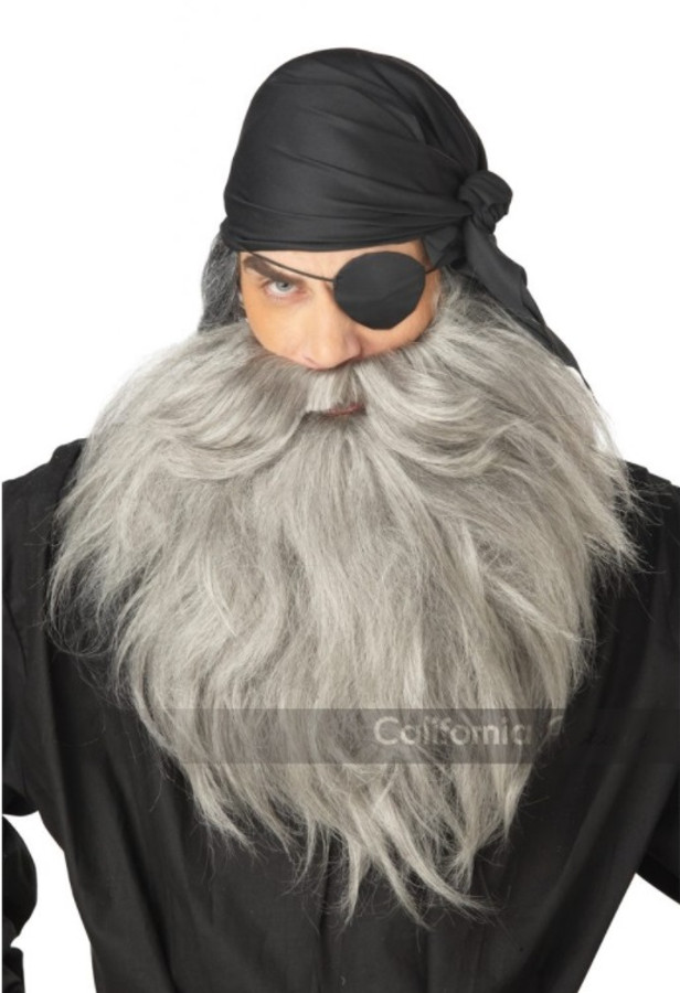 Pirate Beard & Mustache - Grey