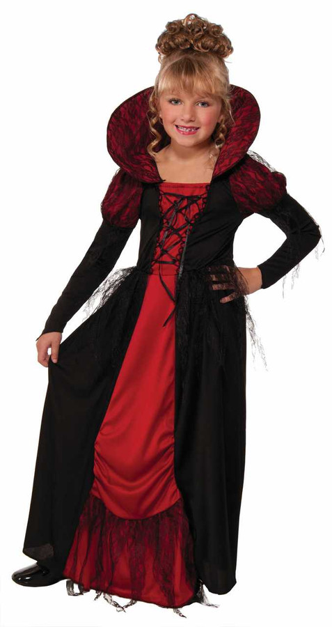 Vampiress Queen Dress and Collar Kids Costume