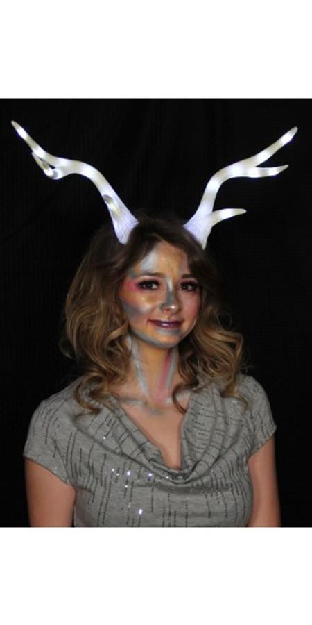 Light-Up Deer Antlers White LumenHorns with Elastic