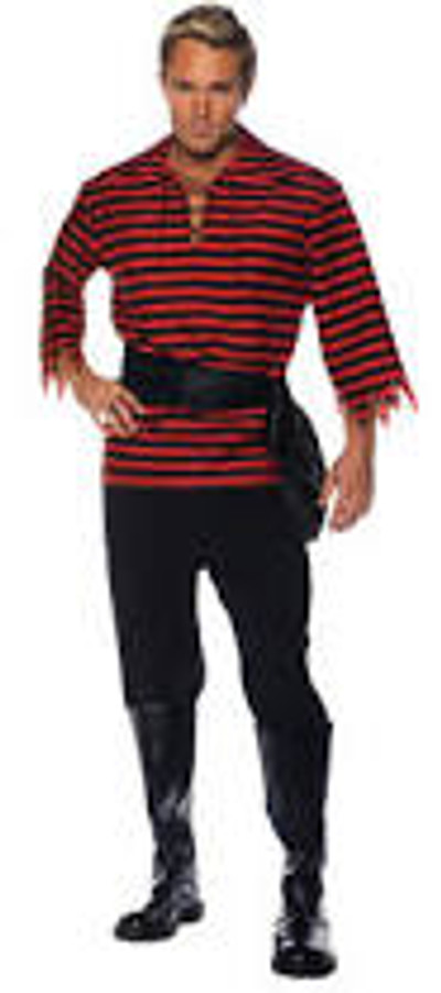 Pirate Costume Set Black and Red One Size