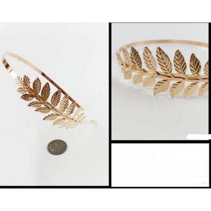 gold leaves metal headband