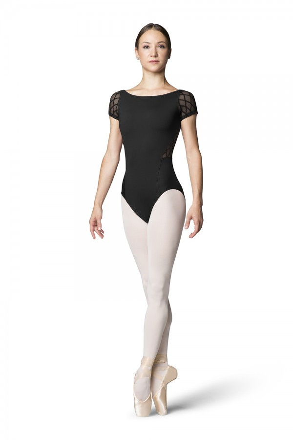 55577d307 Boat neck style adds elegance to this cap sleeve leotard. Featuring diamond  flocked mesh cap