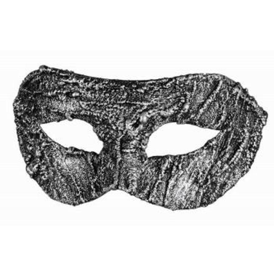 Venetain Half Mask Textured Silver