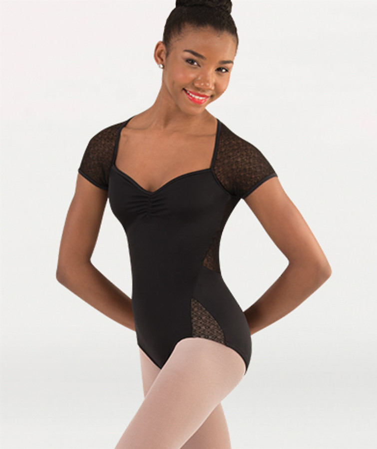 Body Wrappers Mesh Cap Sleeve Sweetheart Leotard