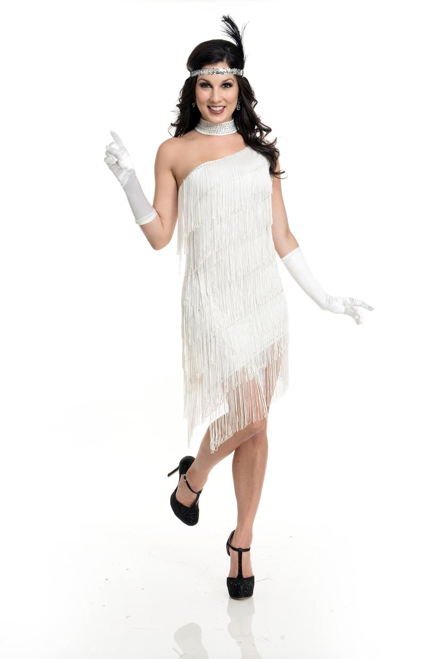 9a520496906 20 s Flapper Classic White One Shoulder Fringe Dress