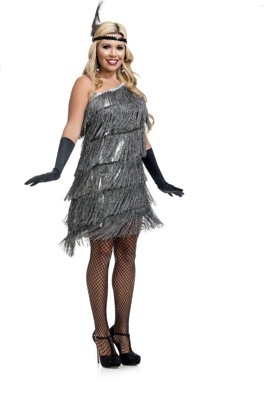 56114bf0aca 20 s Flappers Slant Fringe Flapper Silver Dress - Imaginations ...