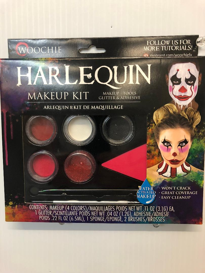 Harlequin Makeup Kit Water Activated 4 Colors 1 Glitter & Adhesive 1 Sponge  2 Brushes