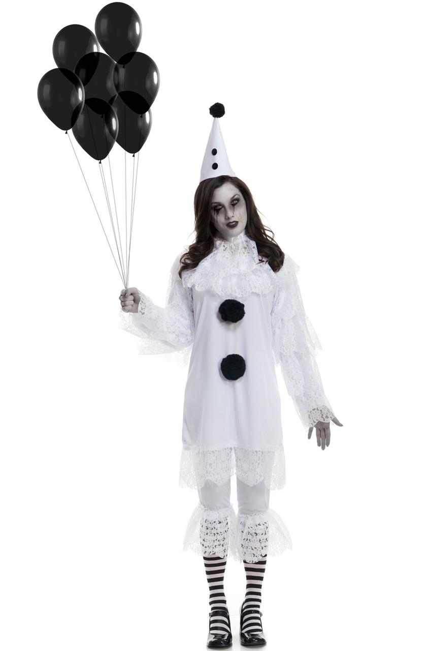 Heartbroken Clown Creepy Black /& White Adult Lace Costume Set