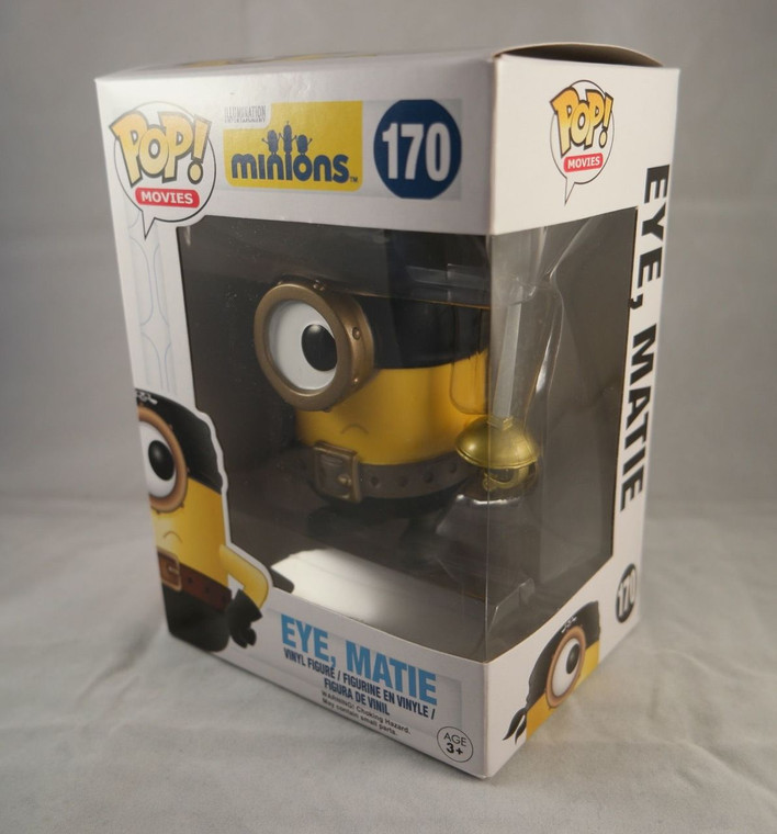 Side & front photo of FUNKO POP! Movies Vinyl Figure Eye, Matie From The Movie Minions No. 170