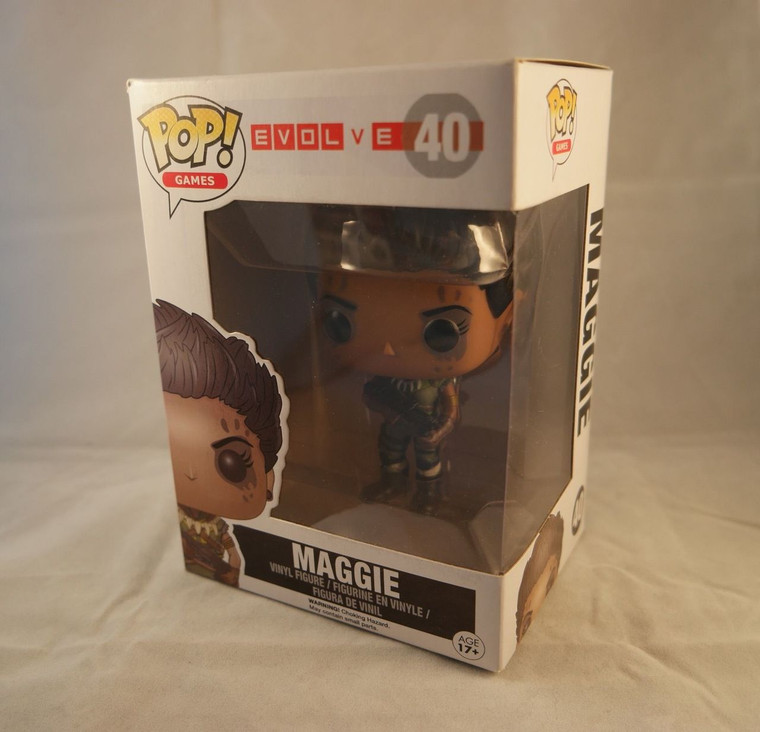 Side & front photo of FUNKO POP! Games Vinyl Figure Maggie from the game Evolve No. 40
