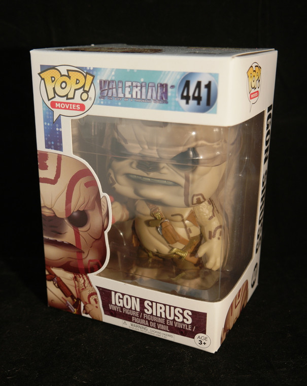 Front and side photo of FUNKO POP! Television Vinyl Figurer Igon Siruss from Valerian & The City Of A 1000 Planets #437
