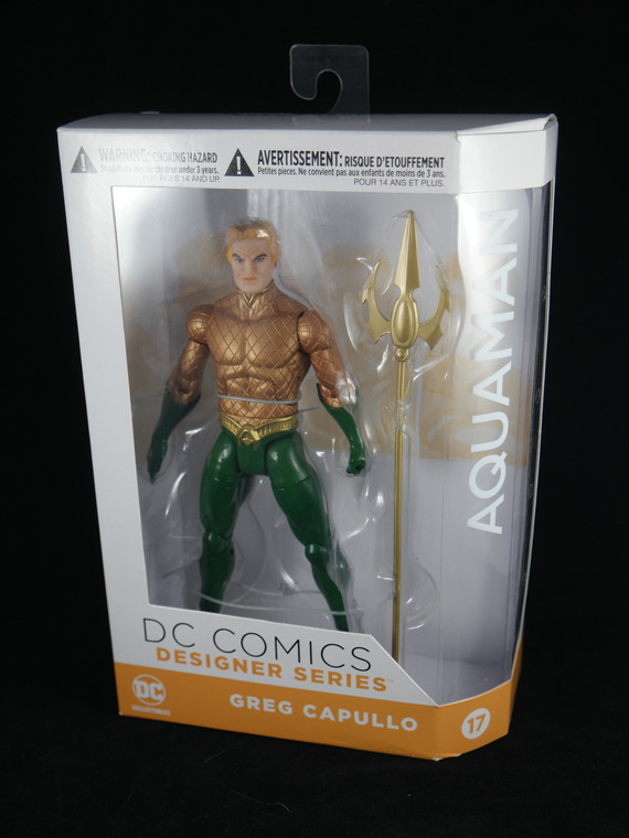 "Side & front photo of DC COMICS DESIGNER SERIES Aquaman of ""Aquaman"" by Greg Capullo 7"" #17 NEW"