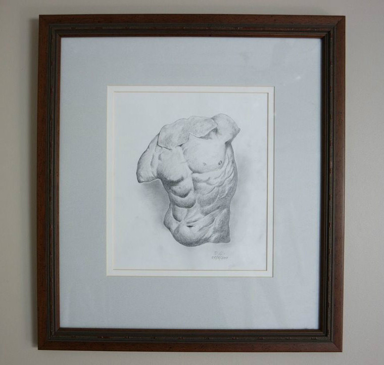 Front photo of Exquisite graphite drawing of a study of a torso by David Calleja framed
