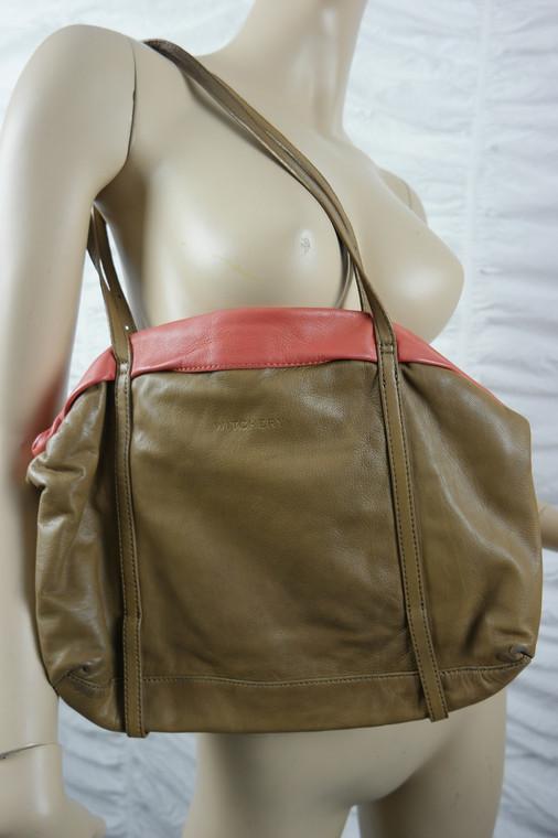 WITCHERY tan orange 100% leather medium shoulder handbag EUC front view