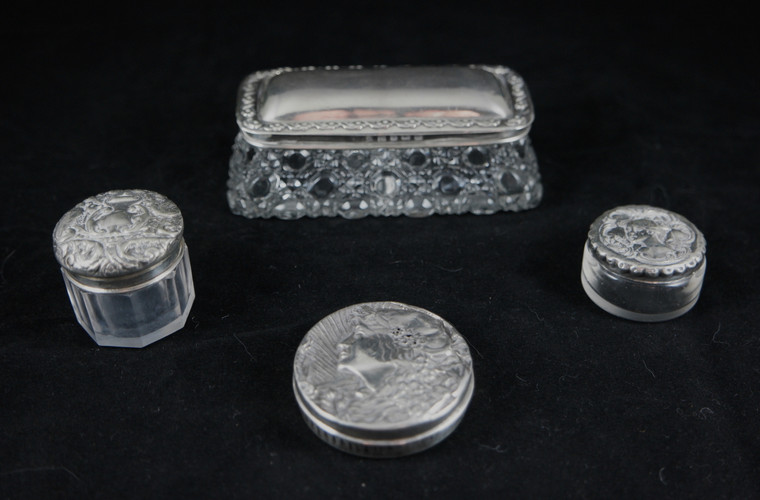 Assortment of English Art Nouveau glassl & sterling silver topped vanity bottles/dishes 1903-1911 front photo.