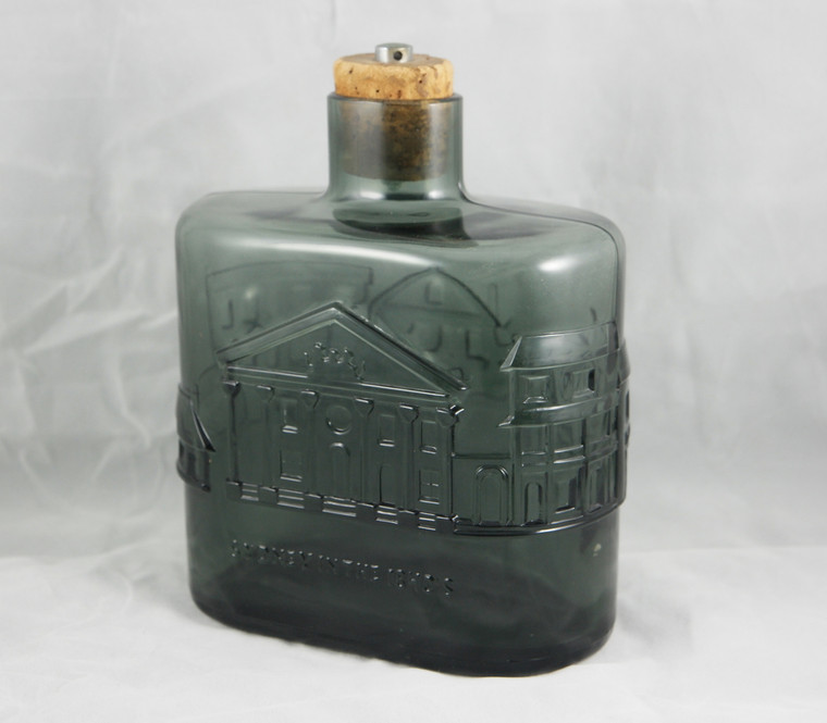 """Vintage smokey grey art glass decanter """"Sydney in the 1840s"""" signed & dated front side photo."""