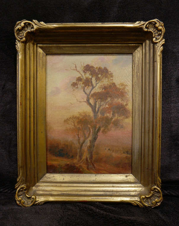 Original antique colonial Australian oil painting of a tree between c1880-1910 front photo.