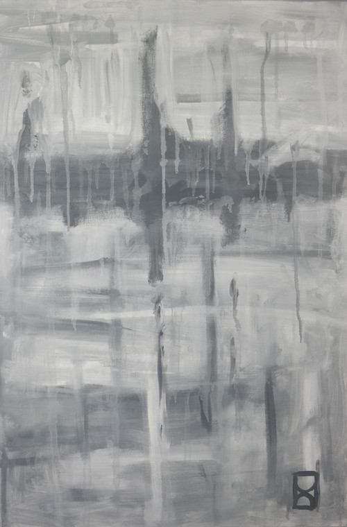"""Modern abstract acrylic painting on canvas titled """"City street on a rainy day"""" by David Calleja close up front photo."""