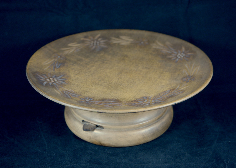UNBRANDED vintage 1930's-1940's German wooden carved floral rotating carousel tray bowl dish stand VGVC front photo.