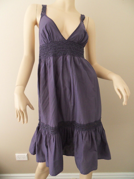 SUSSAN blue 100% cotton spaghetti strapped boho tiered maxi dress size S BNWT front view