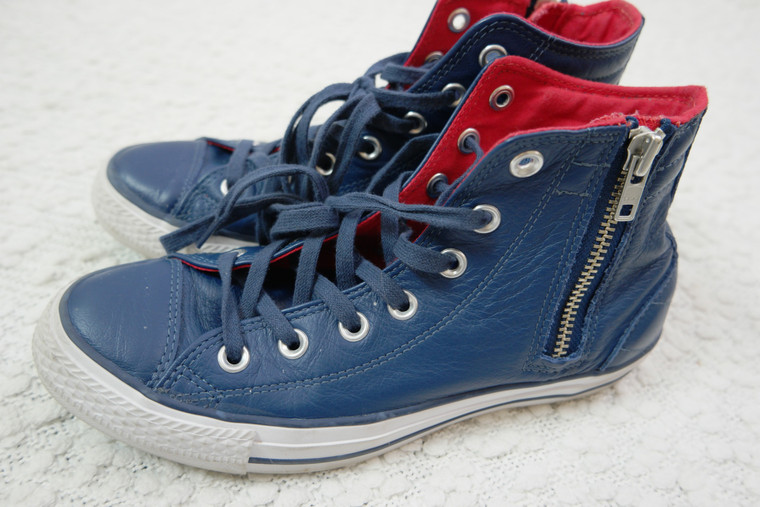 CONVERSE ALL STAR dark blue 100% leather athletic sneakers mens 6/womens 8 EUC side view