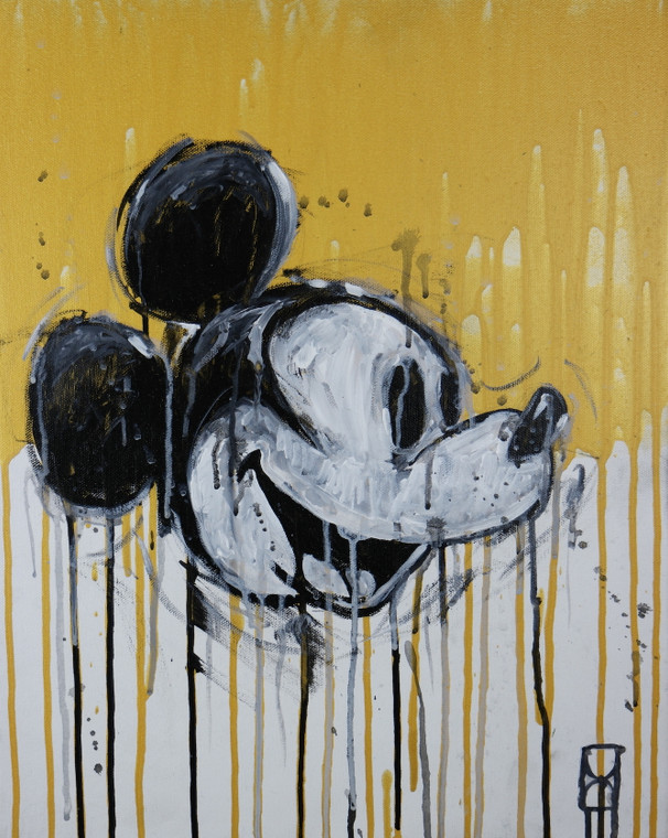 """Modern contemporary acrylic painting on canvas titled """"Dirty Mickey"""" by David Calleja front close up photo."""