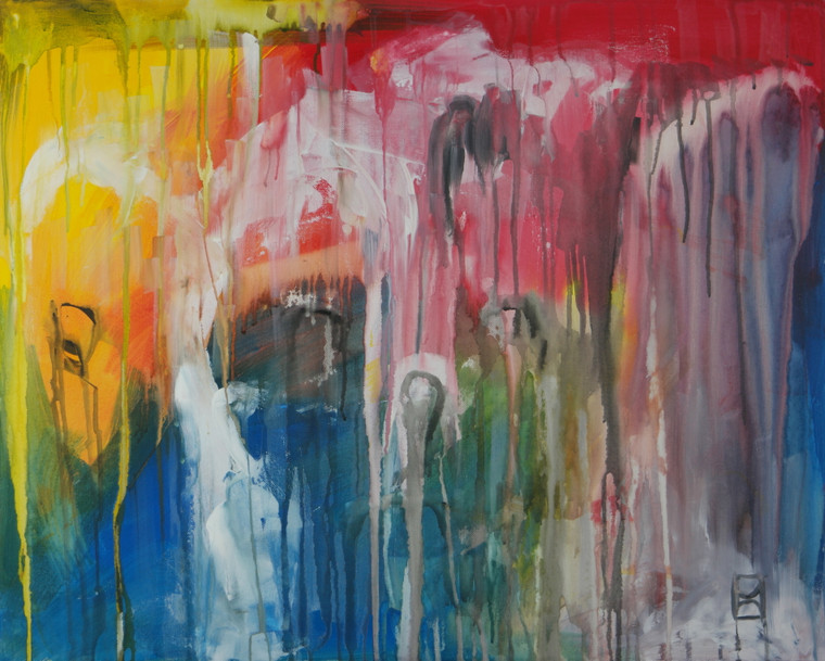 """Modern contemporary abstract painting poster print titled """"Circus Time"""" by David Calleja A4 front photo."""