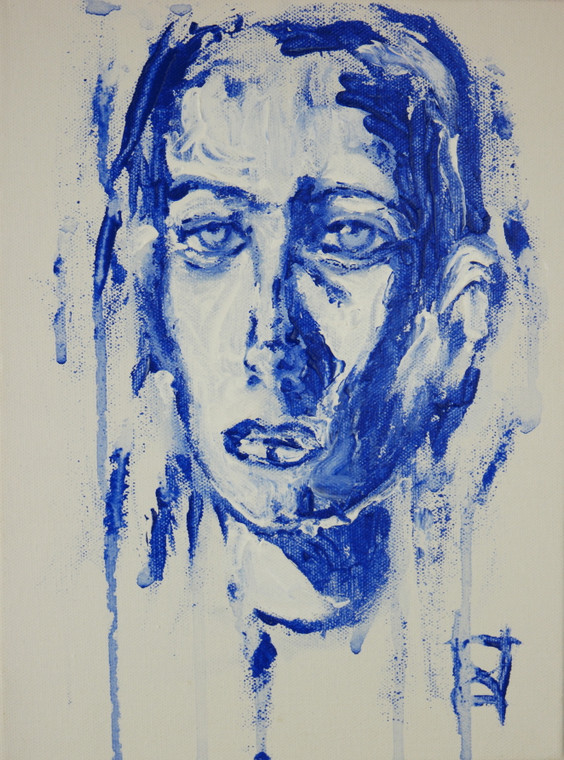 """Modern contemporary painting poster print titled """"Blue Girl"""" by David Calleja A4 front photo."""