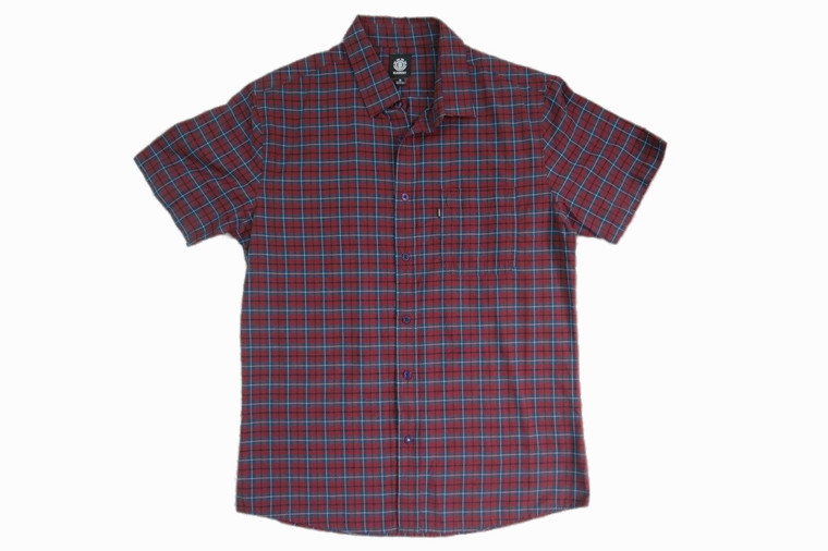 ELEMENT red blue check plaid Rowan casual short sleeve shirt size S BNWT front view